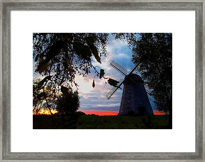 Old Windmill In The Evening Framed Print by Juozas Mazonas
