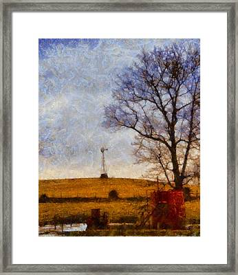 Old Windmill On The Farm Framed Print by Dan Sproul