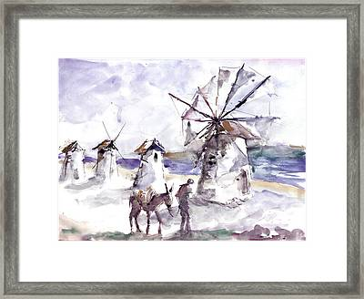 Framed Print featuring the painting Old Windmills At Bodrum by Faruk Koksal