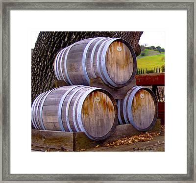 Old Wine Barrels On An Older Truck Framed Print