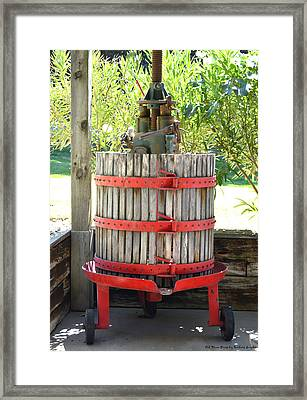 Old Wine Press Framed Print by Barbara Snyder