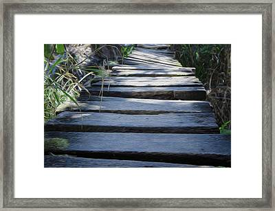 Old Wodden Bridge Framed Print by Aged Pixel