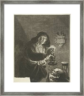 Old Woman By Candlelight, Albert Haelwegh Framed Print by Albert Haelwegh And Anonymous And Joachim Von Sandrart