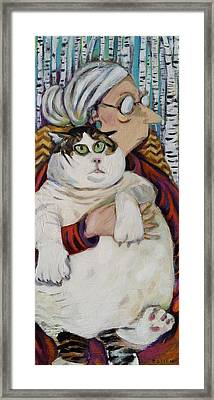 Old Woman Fat Cat Framed Print