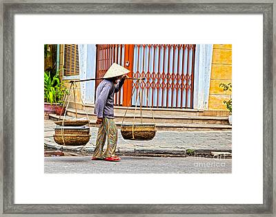 Old Woman In Hoi An Vietnam Framed Print by Fototrav Print