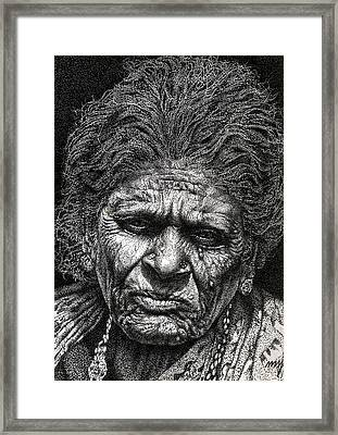 Old Woman In Sad Framed Print by Johnson Moya