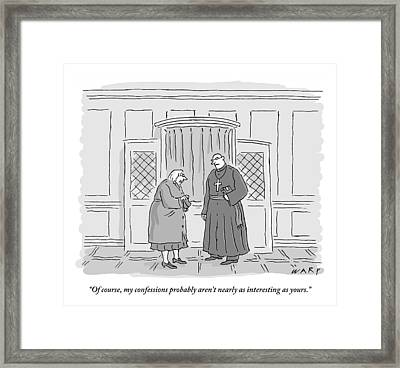 Old Woman Is Talking To A Priest In Front Framed Print