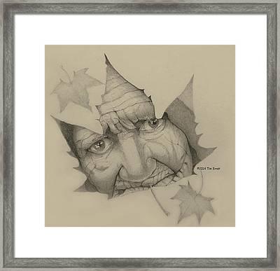 Old Woman Leaf  Framed Print