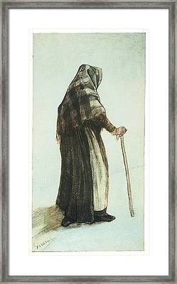 Old Woman Seen From Behind Framed Print by Vincent van Gogh