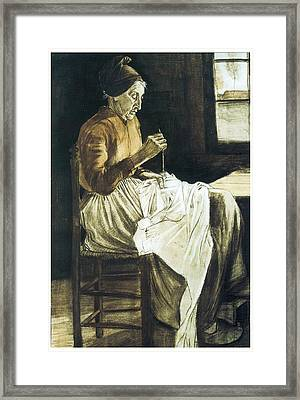 Old Woman Sewing Framed Print by Vincent van Gogh