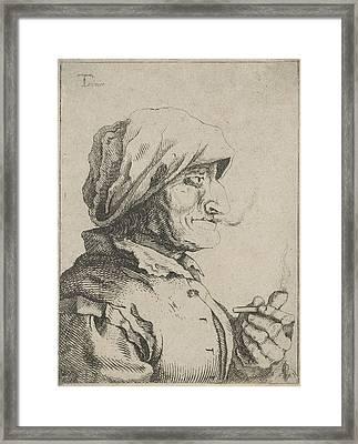 Old Woman Smokes A Pipe, Possibly Jan Lauwryn Krafft Framed Print by Artokoloro