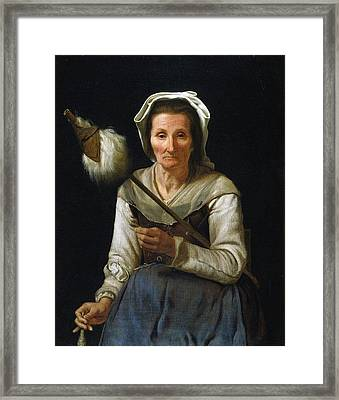 Old Woman Spinning, 1646-48 Framed Print by Michael Sweerts