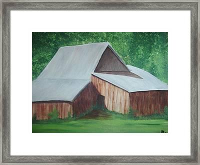 Old Wood Barn Framed Print by Melanie Blankenship