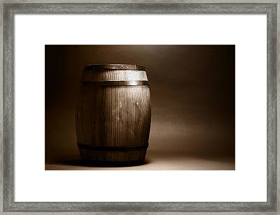 Old Wood Barrel Framed Print