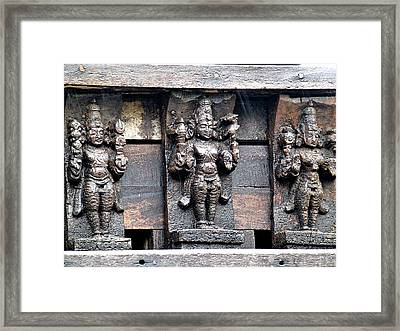 Old Wood Carving Framed Print by Girish J