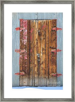 Old Wood Door With Six Red Hinges Framed Print by James BO  Insogna