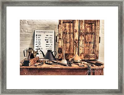 Old  Wood Workbench Framed Print