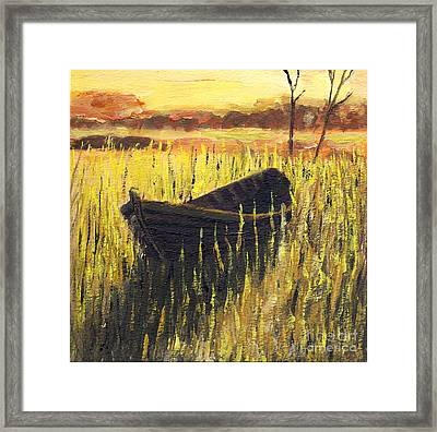 Old Wooden Boat In The Reeds  Framed Print by Randy Sprout