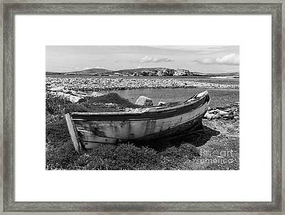 Old Wooden Boat On Delos Mono Framed Print by John Rizzuto