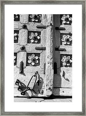 Old Wooden Door Latch Framed Print by Jagdish Agarwal