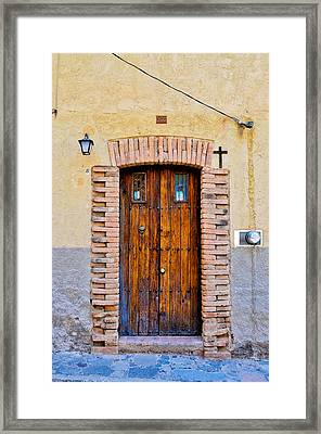 Old Wooden Door - Mexico - Photograph By David Perry Lawrence Framed Print