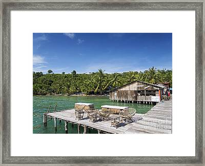 Old Wooden Pier Of Koh Rong Island In Cambodia Framed Print