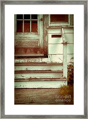 Old Wooden Porch Framed Print by Jill Battaglia