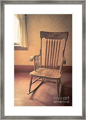 Old Wooden Rocking Chair Framed Print by Edward Fielding