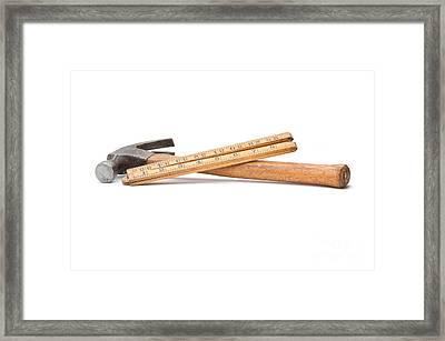 Old Wooden Rule And Hammer. Framed Print by Stephen Baker