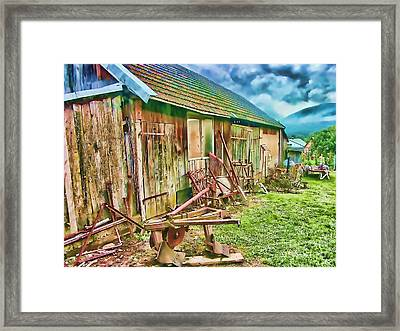 Old Wooden Shed Framed Print by Roman Milert