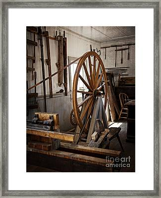 Old Wooden Treadle Lathe And Tools Framed Print by Lee Craig
