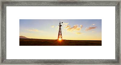Old Wooden Windmill At Sunset, Pie Framed Print by Panoramic Images