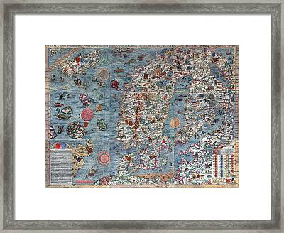 Old World Art Map  Framed Print by Inspired Nature Photography Fine Art Photography