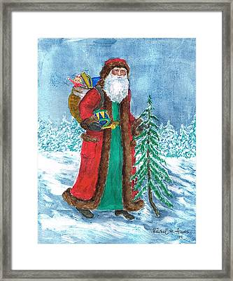 Old World Father Christmas4 Framed Print by Barbel Amos