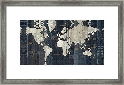 Old World Map Blue Framed Print by Wild Apple Portfolio