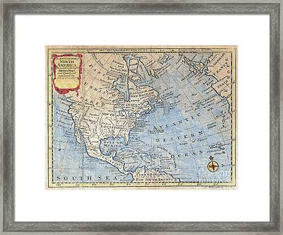 Old World Map Of North America Framed Print by Inspired Nature Photography Fine Art Photography