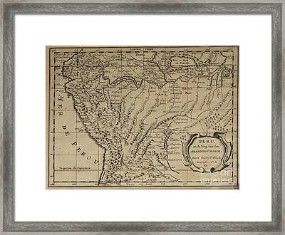 Old World Map Of Peru Framed Print by Inspired Nature Photography Fine Art Photography