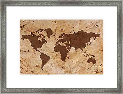 Old World Map On Creased And Stained Parchment Paper Framed Print