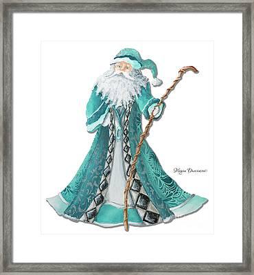 Old World Style Turquoise Aqua Teal Santa Claus Christmas Art By Megan Duncanson Framed Print