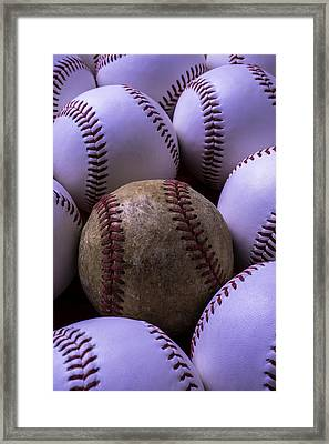 Old Worn Baseball Framed Print by Garry Gay