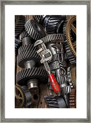 Old Wrenches On Gears Framed Print by Garry Gay