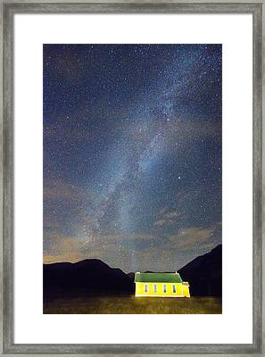 Old Yellow School House Milky Way Night Sky Framed Print by James BO  Insogna