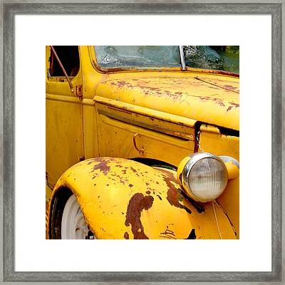 Old Yellow Truck Framed Print by Art Block Collections