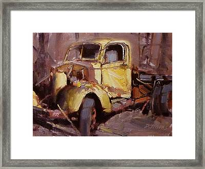 Old Yellow Truck Framed Print by David Simons