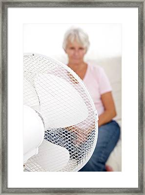 Older Lady With An Electric Fan Framed Print by Lea Paterson