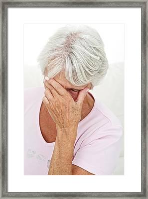 Older Lady With Headache Framed Print