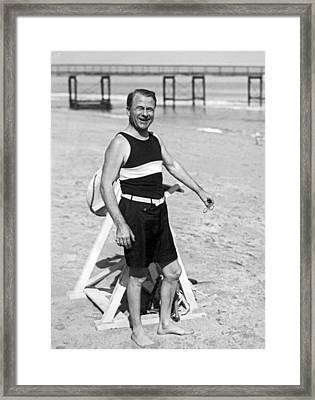 Older Man At The Beach Framed Print by Underwood Archives