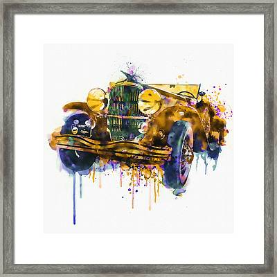 Oldtimer Automobile In Watercolor Framed Print