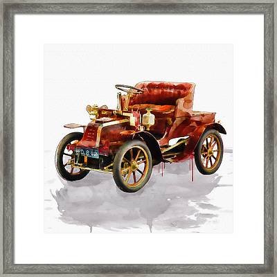 Oldtimer Car Watercolor Framed Print by Marian Voicu