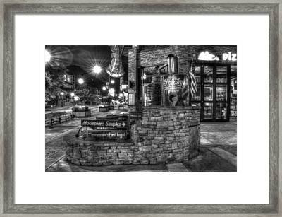 Ole Smoky Tennessee Moonshine In Black And White Framed Print by Greg and Chrystal Mimbs